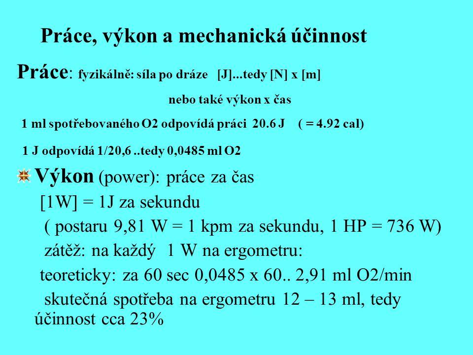 Práce, výkon a mechanická účinnost Práce : fyzikálně: síla po dráze [J]...tedy [N] x [m] nebo také výkon x čas 1 ml spotřebovaného O2 odpovídá práci 2