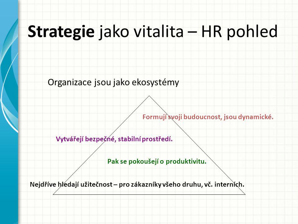 Strategie jako vitalita – HR pohled Formují svoji budoucnost, jsou dynamické.