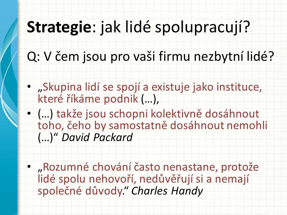 Strategie: jak lidé spolupracují.Q: V čem jsou pro vaši firmu nezbytní lidé.