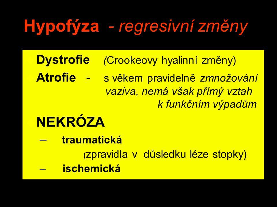 Hypofýza - regresivní změny u Dystrofie (Crookeovy hyalinní změny) u Atrofie - s věkem pravidelně zmnožování vaziva, nemá však přímý vztah k funkčním