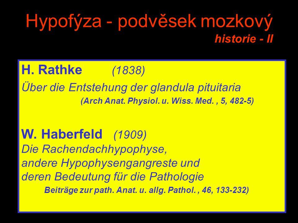 Hypofýza - podvěsek mozkový historie - II H. Rathke (1838) Über die Entstehung der glandula pituitaria (Arch Anat. Physiol. u. Wiss. Med., 5, 482-5) W