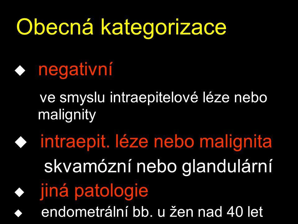 Obecná kategorizace u negativní ve smyslu intraepitelové léze nebo malignity u intraepit.