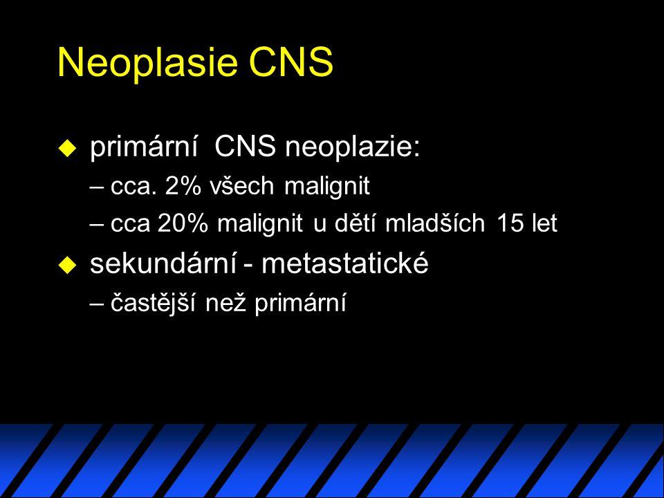 Neoplasie CNS u primární CNS neoplazie: –cca.
