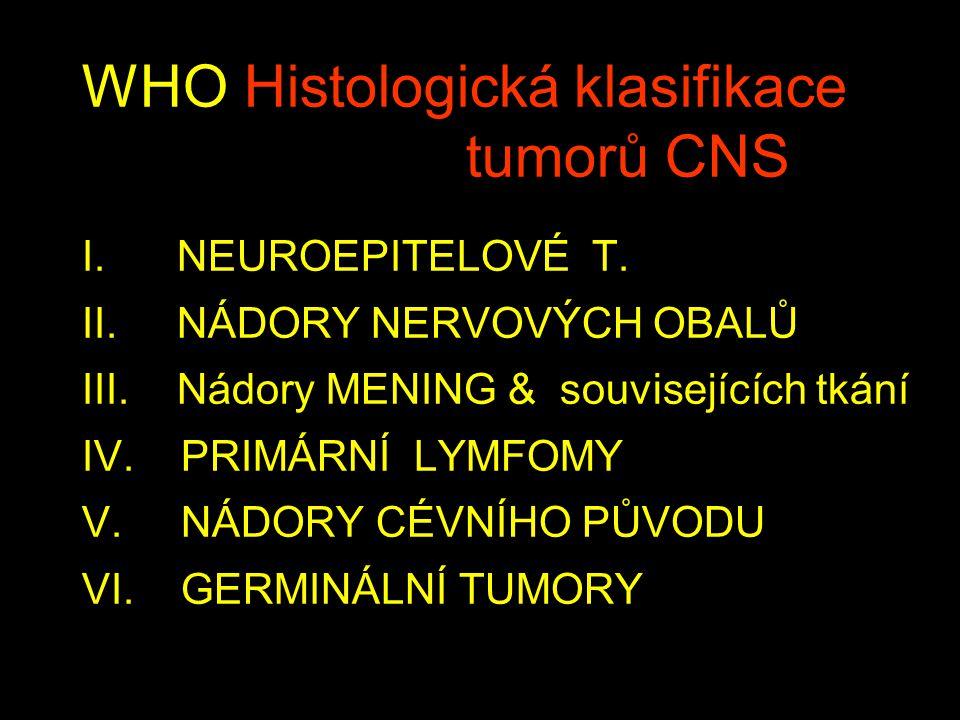 WHO Histologická klasifikace tumorů CNS I.NEUROEPITELOVÉ T.