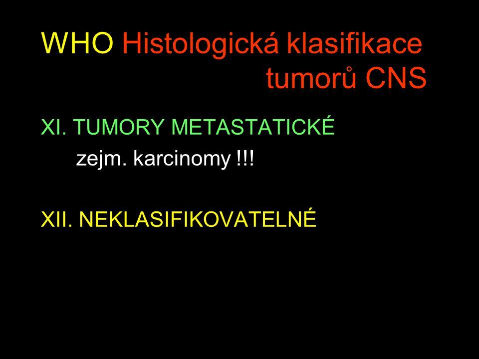 WHO Histologická klasifikace tumorů CNS XI.TUMORY METASTATICKÉ zejm.