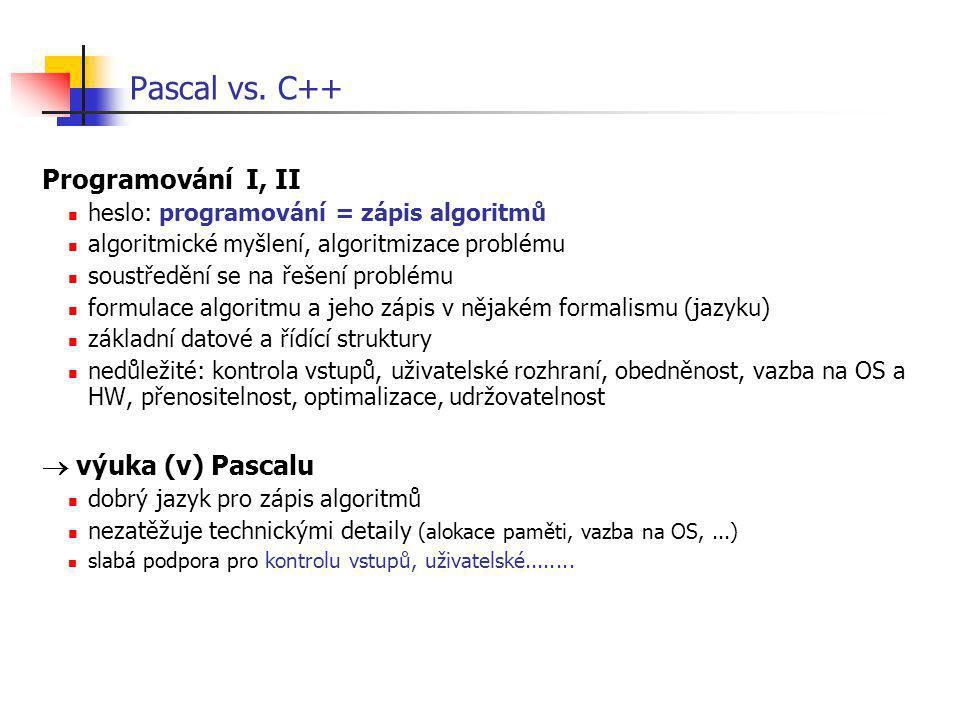 Pascal vs. C++ Programování I, II heslo: programování = zápis algoritmů algoritmické myšlení, algoritmizace problému soustředění se na řešení problému