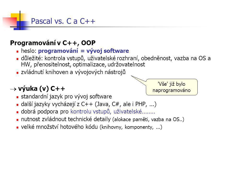 Pascal vs. C a C++ Programování v C++, OOP heslo: programování = vývoj software důležité: kontrola vstupů, uživatelské rozhraní, obedněnost, vazba na