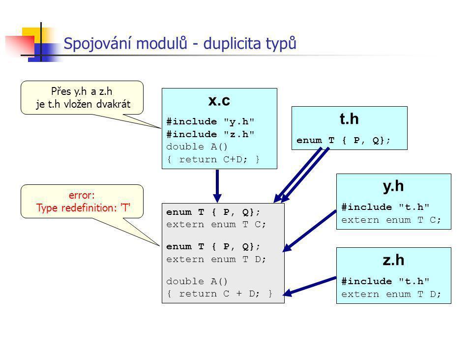 Spojování modulů - duplicita typů x.c #include