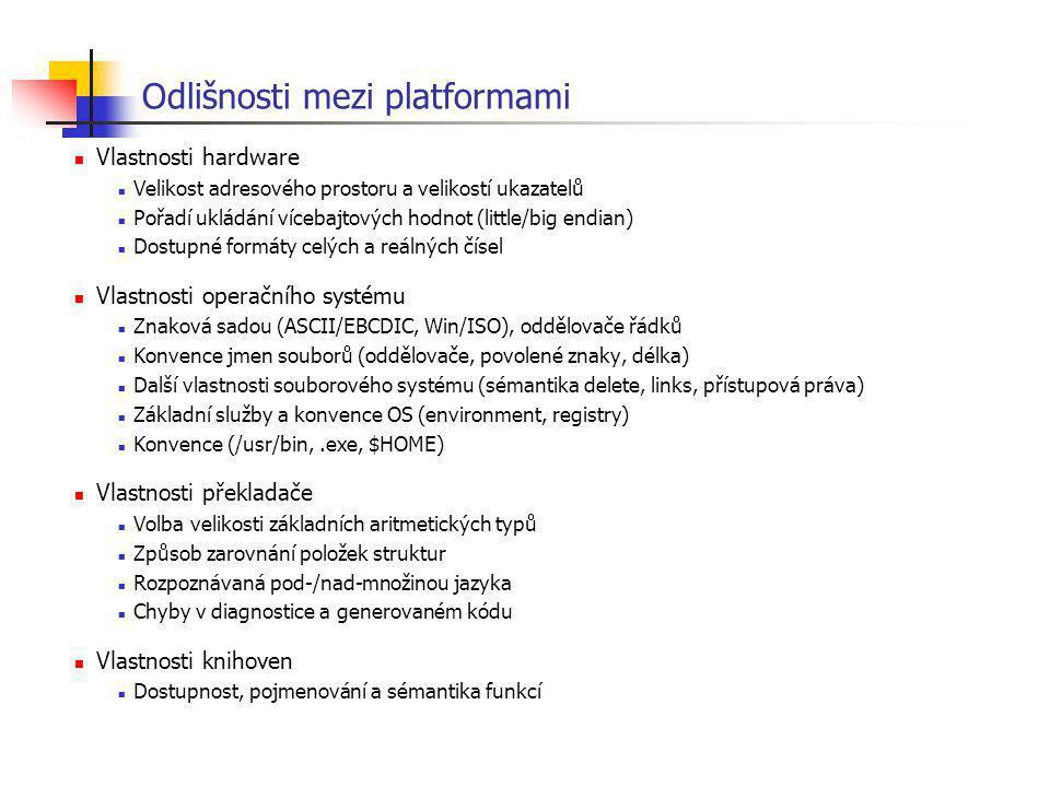Odlišnosti mezi platformami Vlastnosti hardware Velikost adresového prostoru a velikostí ukazatelů Pořadí ukládání vícebajtových hodnot (little/big en