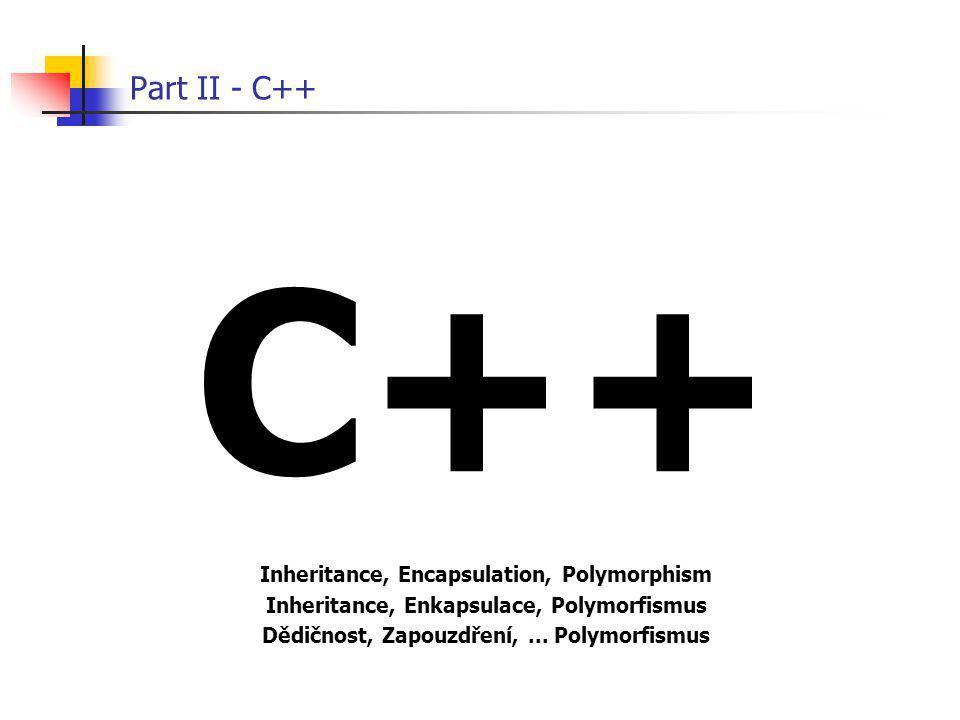 Part II - C++ C++ Inheritance, Encapsulation, Polymorphism Inheritance, Enkapsulace, Polymorfismus Dědičnost, Zapouzdření,... Polymorfismus