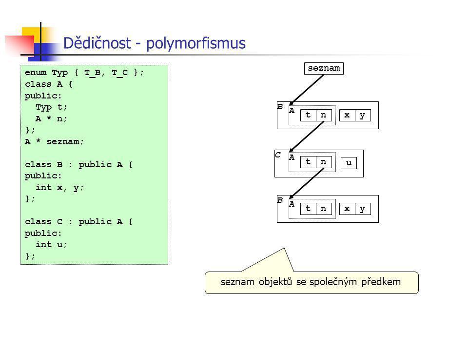 Dědičnost - polymorfismus C A tn u seznam B A tnxy B A tnxy enum Typ { T_B, T_C }; class A { public: Typ t; A * n; }; A * seznam; class B : public A {