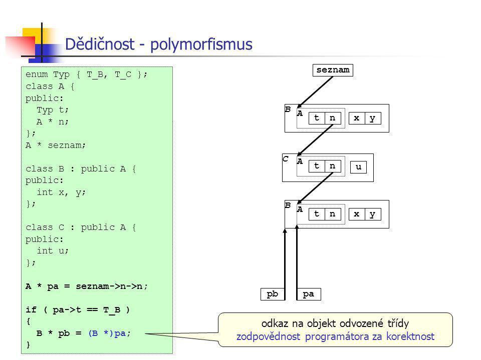 Dědičnost - polymorfismus C A tn u pbpa seznam B A tnxy B A tnxy enum Typ { T_B, T_C }; class A { public: Typ t; A * n; }; A * seznam; class B : publi