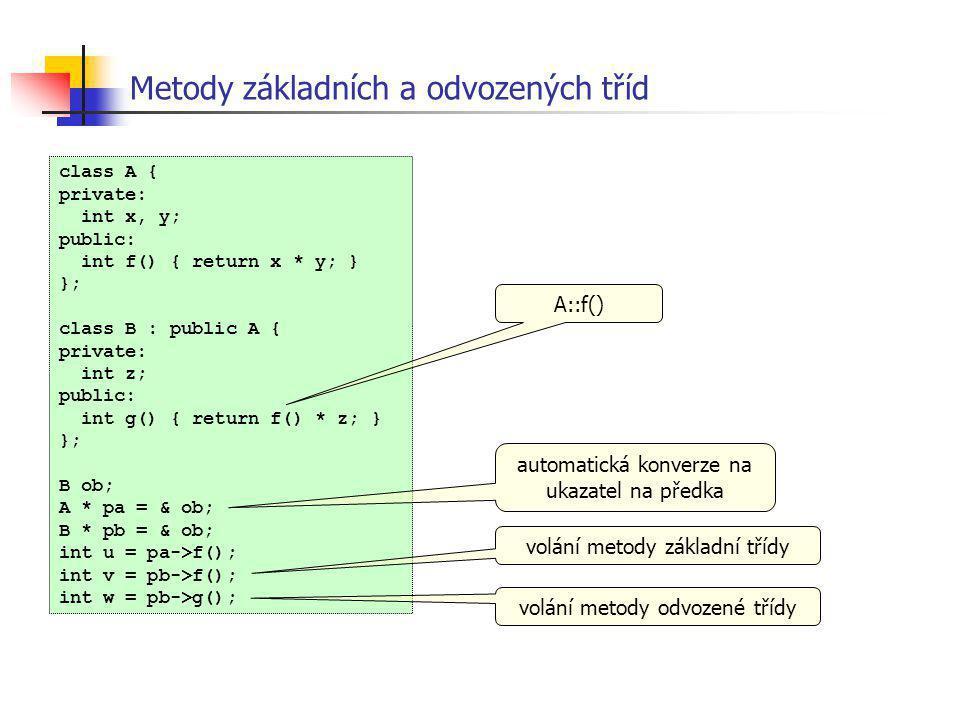 class A { private: int x, y; public: int f() { return x * y; } }; class B : public A { private: int z; public: int g() { return f() * z; } }; B ob; A