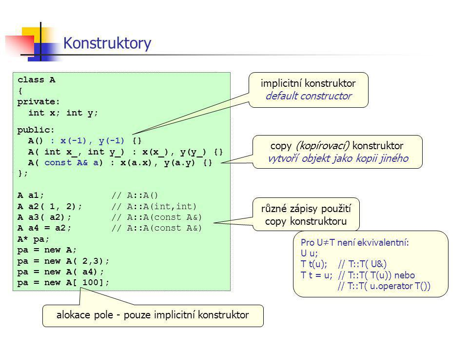 Konstruktory class A { private: int x; int y; public: A() : x(-1), y(-1) {} A( int x_, int y_) : x(x_), y(y_) {} A( const A& a) : x(a.x), y(a.y) {} };