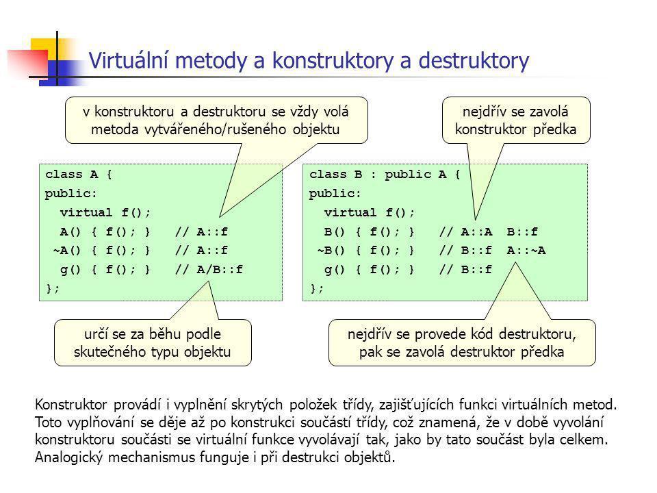 Virtuální metody a konstruktory a destruktory class A { public: virtual f(); A() { f(); } // A::f ~A() { f(); } // A::f g() { f(); } // A/B::f }; clas