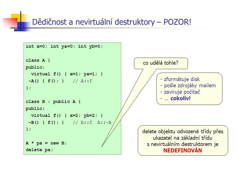 Dědičnost a nevirtuální destruktory – POZOR! int x=0; int ya=0; int yb=0; class A { public: virtual f() { x=1; ya=1; } ~A() { f(); } // A::f }; class