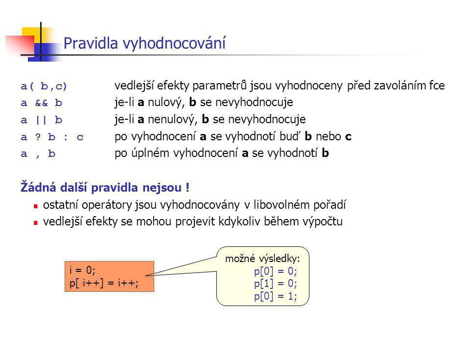 i = 0; p[ i++] = i++; Pravidla vyhodnocování a( b,c) vedlejší efekty parametrů jsou vyhodnoceny před zavoláním fce a && b je-li a nulový, b se nevyhod