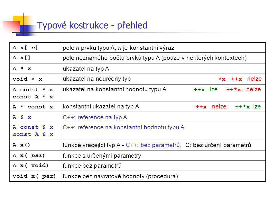 Typové kostrukce - přehled A x[ n] pole n prvků typu A, n je konstantní výraz A x[] pole neznámého počtu prvků typu A (pouze v některých kontextech) A