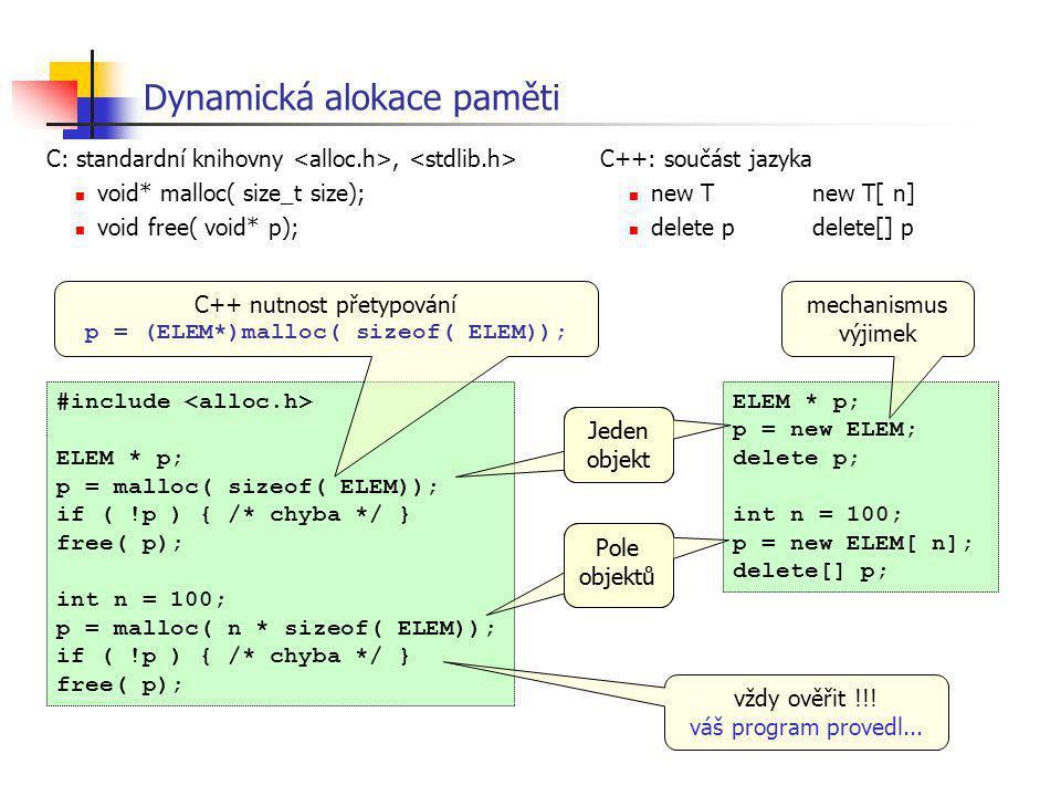 Dynamická alokace paměti C: standardní knihovny, void* malloc( size_t size); void free( void* p); #include ELEM * p; p = malloc( sizeof( ELEM)); if (