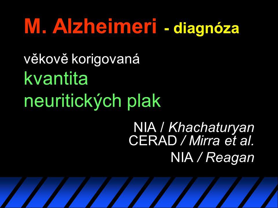 M. Alzheimeri - diagnóza věkově korigovaná kvantita neuritických plak NIA / Khachaturyan CERAD / Mirra et al. NIA / Reagan