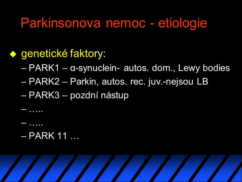 Parkinsonova nemoc - etiologie u genetické faktory: –PARK1 – α-synuclein- autos.