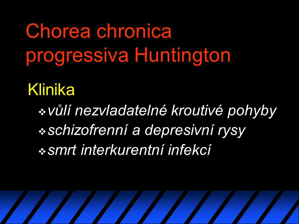 Chorea chronica progressiva Huntington Klinika v vůlí nezvladatelné kroutivé pohyby v schizofrenní a depresivní rysy v smrt interkurentní infekcí