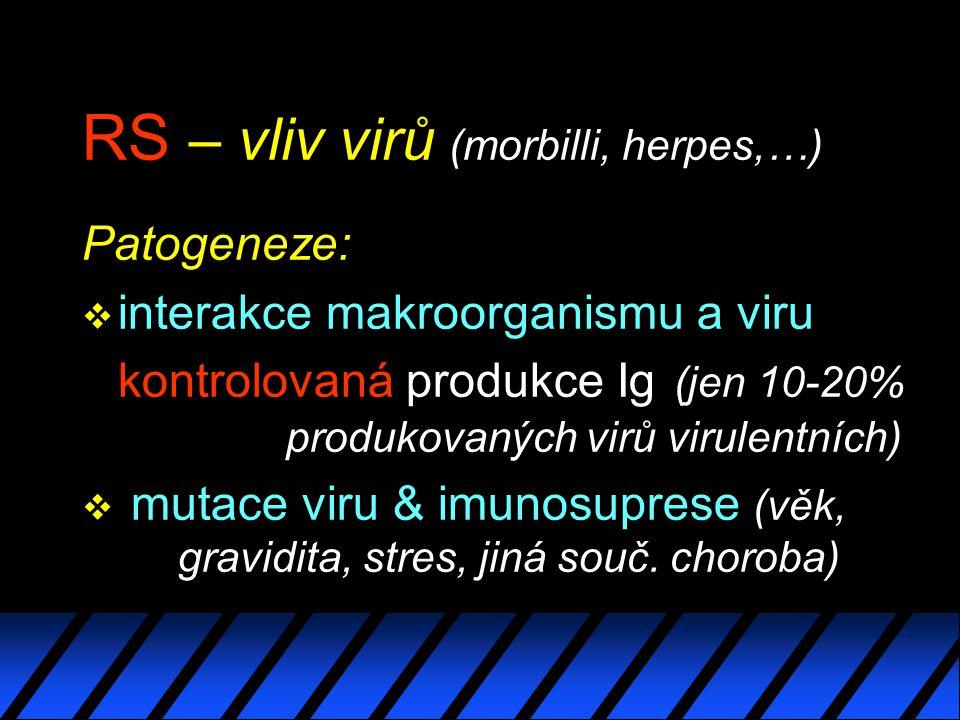 RS – vliv virů (morbilli, herpes,…) Patogeneze: v interakce makroorganismu a viru kontrolovaná produkce Ig (jen 10-20% produkovaných virů virulentních) v mutace viru & imunosuprese (věk, gravidita, stres, jiná souč.