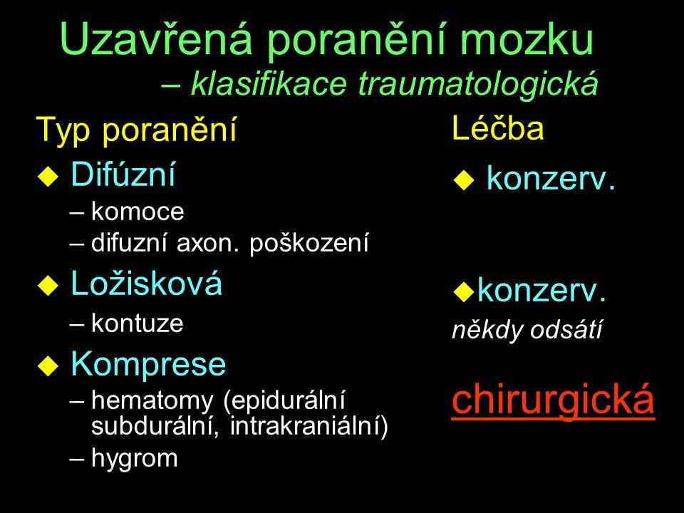 Uzavřená poranění mozku – klasifikace traumatologická Typ poranění u Difúzní –komoce –difuzní axon. poškození u Ložisková –kontuze u Komprese –hematom