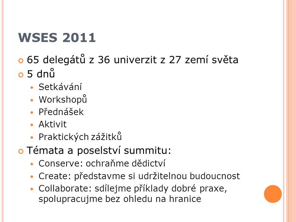 WSES 2011 65 delegátů z 36 univerzit z 27 zemí světa 5 dnů Setkávání Workshopů Přednášek Aktivit Praktických zážitků Témata a poselství summitu: Conserve: ochraňme dědictví Create: představme si udržitelnou budoucnost Collaborate: sdílejme příklady dobré praxe, spolupracujme bez ohledu na hranice