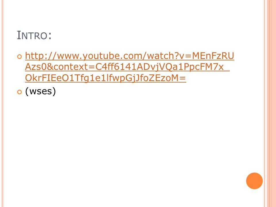 I NTRO : http://www.youtube.com/watch?v=MEnFzRU Azs0&context=C4ff6141ADvjVQa1PpcFM7x_ OkrFIEeO1Tfg1e1lfwpGjJfoZEzoM= (wses)