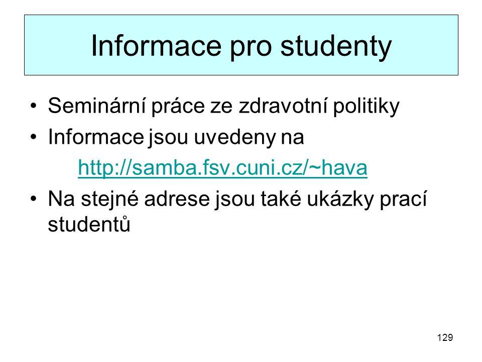 Informace pro studenty Seminární práce ze zdravotní politiky Informace jsou uvedeny na http://samba.fsv.cuni.cz/~hava Na stejné adrese jsou také ukázk