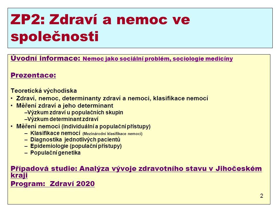 ZP2: Zdraví a nemoc ve společnosti Úvodní informace: Nemoc jako sociální problém, sociologie medicíny Prezentace: Teoretická východiska Zdraví, nemoc,