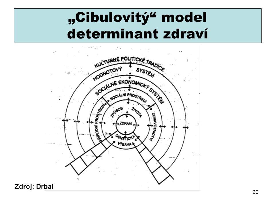 """""""Cibulovitý"""" model determinant zdraví Zdroj: Drbal 20"""