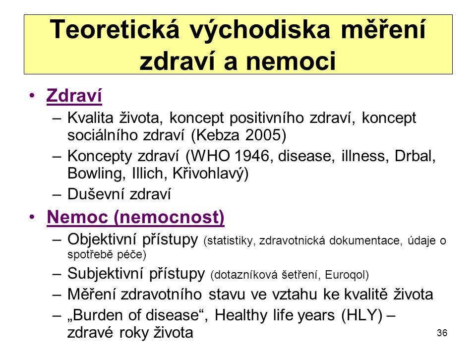 Teoretická východiska měření zdraví a nemoci Zdraví –Kvalita života, koncept positivního zdraví, koncept sociálního zdraví (Kebza 2005) –Koncepty zdra