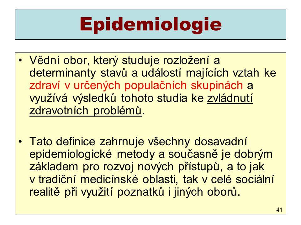 Epidemiologie Vědní obor, který studuje rozložení a determinanty stavů a událostí majících vztah ke zdraví v určených populačních skupinách a využívá
