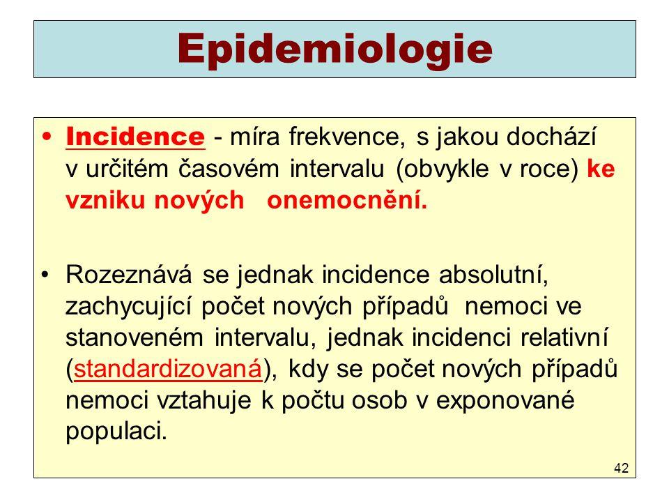 Epidemiologie Incidence - míra frekvence, s jakou dochází v určitém časovém intervalu (obvykle v roce) ke vzniku nových onemocnění. Rozeznává se jedna