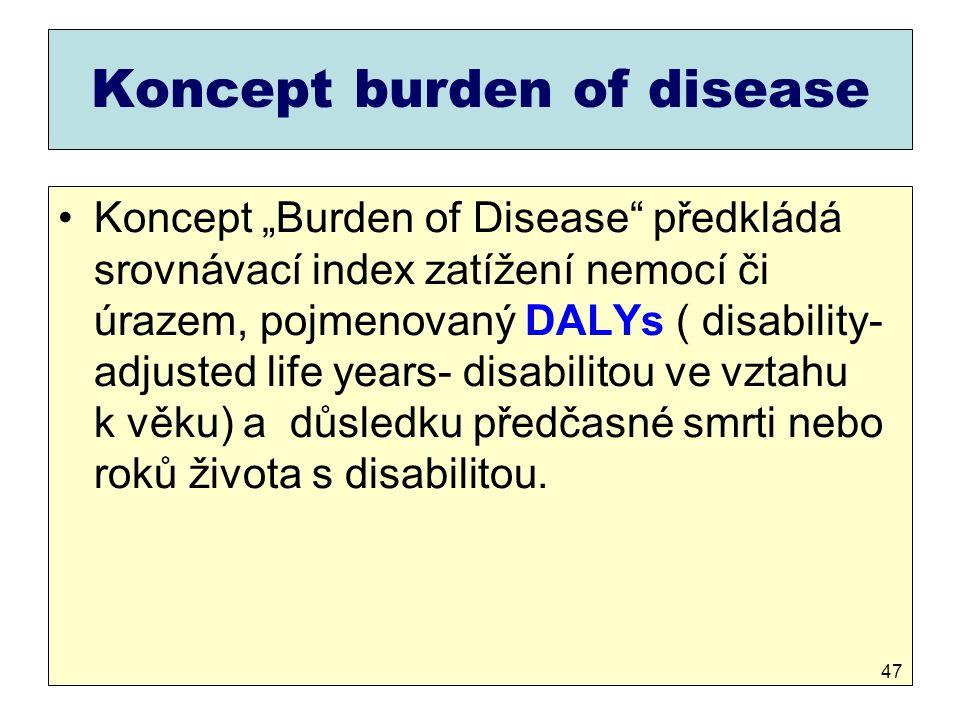 """Koncept burden of disease Koncept """"Burden of Disease"""" předkládá srovnávací index zatížení nemocí či úrazem, pojmenovaný DALYs ( disability- adjusted l"""