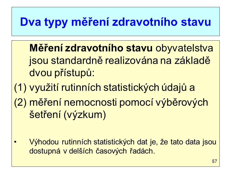 Dva typy měření zdravotního stavu Měření zdravotního stavu obyvatelstva jsou standardně realizována na základě dvou přístupů: (1)využití rutinních sta