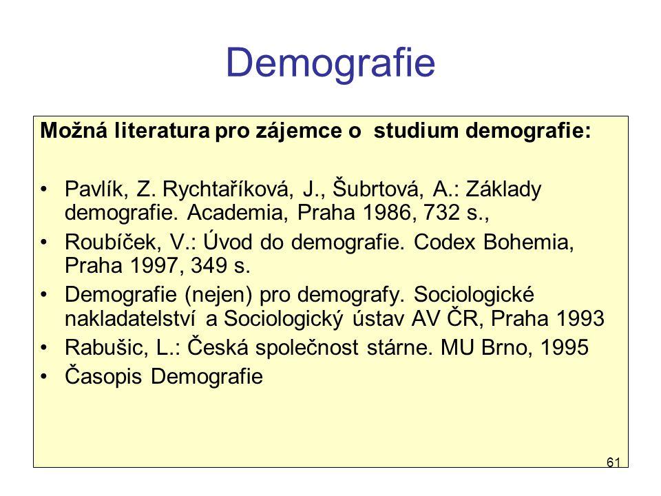 Demografie Možná literatura pro zájemce o studium demografie: Pavlík, Z. Rychtaříková, J., Šubrtová, A.: Základy demografie. Academia, Praha 1986, 732