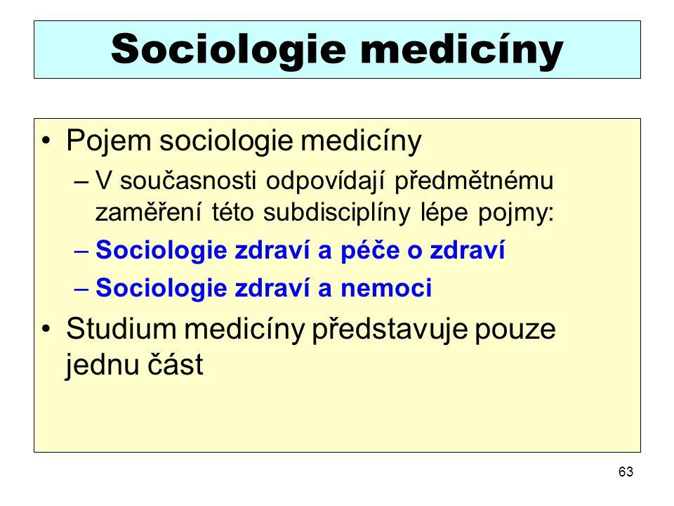 Sociologie medicíny Pojem sociologie medicíny –V současnosti odpovídají předmětnému zaměření této subdisciplíny lépe pojmy: –Sociologie zdraví a péče