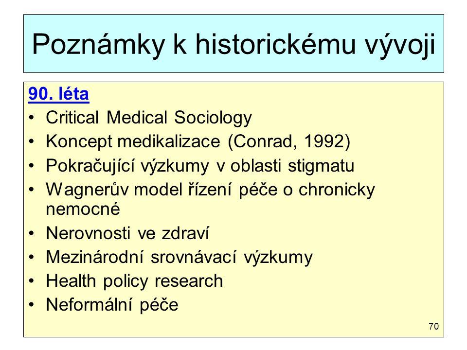 Poznámky k historickému vývoji 90. léta Critical Medical Sociology Koncept medikalizace (Conrad, 1992) Pokračující výzkumy v oblasti stigmatu Wagnerův