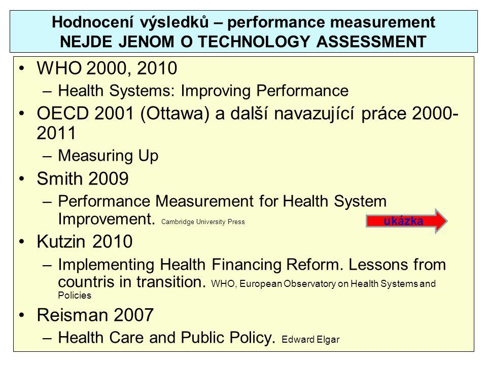 Hodnocení výsledků – performance measurement NEJDE JENOM O TECHNOLOGY ASSESSMENT WHO 2000, 2010 –Health Systems: Improving Performance OECD 2001 (Otta