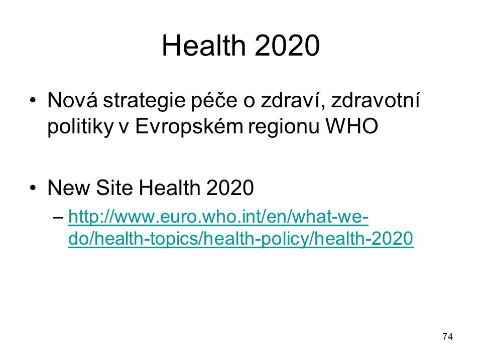 Health 2020 Nová strategie péče o zdraví, zdravotní politiky v Evropském regionu WHO New Site Health 2020 –http://www.euro.who.int/en/what-we- do/heal