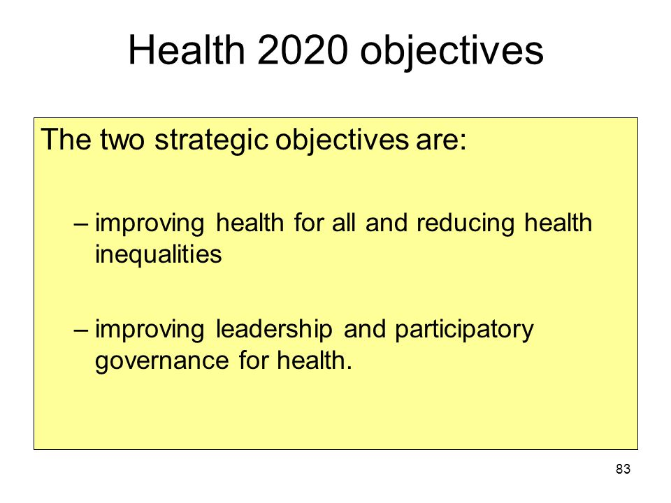 Health 2020 objectives The two strategic objectives are: –improving health for all and reducing health inequalities –improving leadership and participatory governance for health.