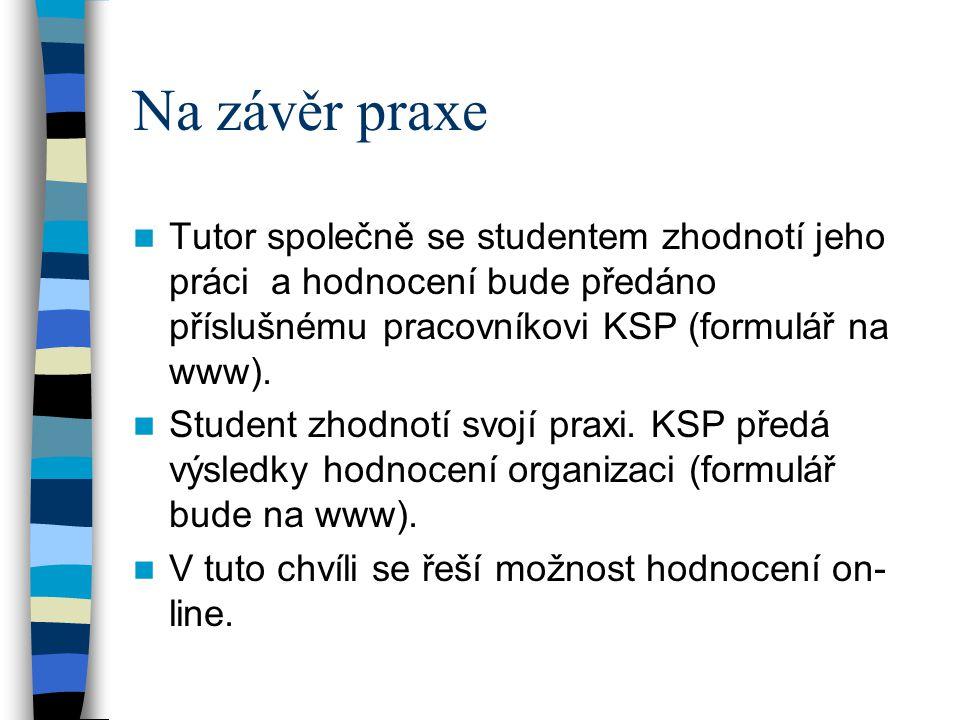 Na závěr praxe Tutor společně se studentem zhodnotí jeho práci a hodnocení bude předáno příslušnému pracovníkovi KSP (formulář na www). Student zhodno