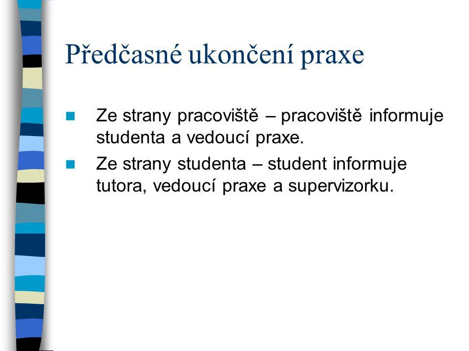 Předčasné ukončení praxe Ze strany pracoviště – pracoviště informuje studenta a vedoucí praxe. Ze strany studenta – student informuje tutora, vedoucí
