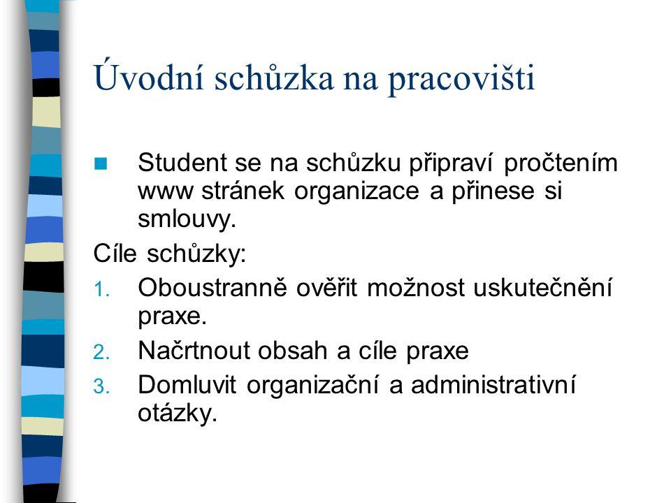 Úvodní schůzka na pracovišti Student se na schůzku připraví pročtením www stránek organizace a přinese si smlouvy. Cíle schůzky: 1. Oboustranně ověřit