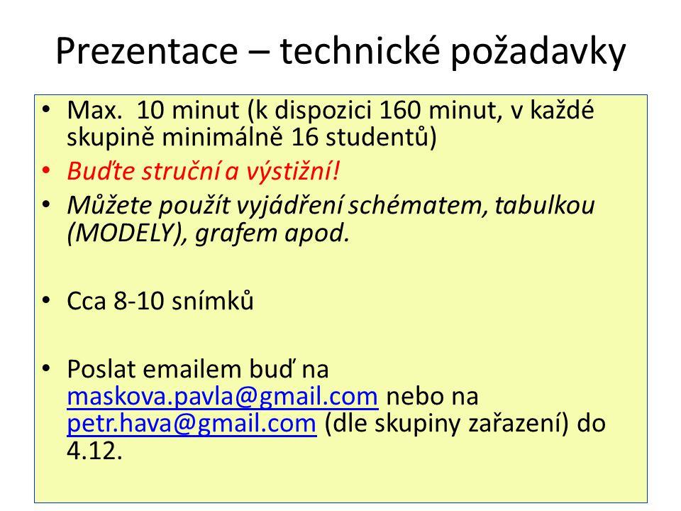 Prezentace – technické požadavky Max. 10 minut (k dispozici 160 minut, v každé skupině minimálně 16 studentů) Buďte struční a výstižní! Můžete použít