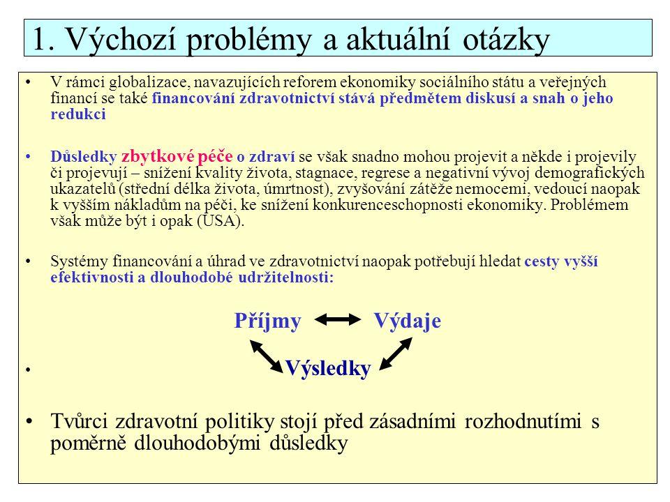Otázky Které faktory determinují vývoj financování zdravotní péče Proč dochází v ČR k dlouhodobé bilanční nevyváženosti financování zdravotní péče.