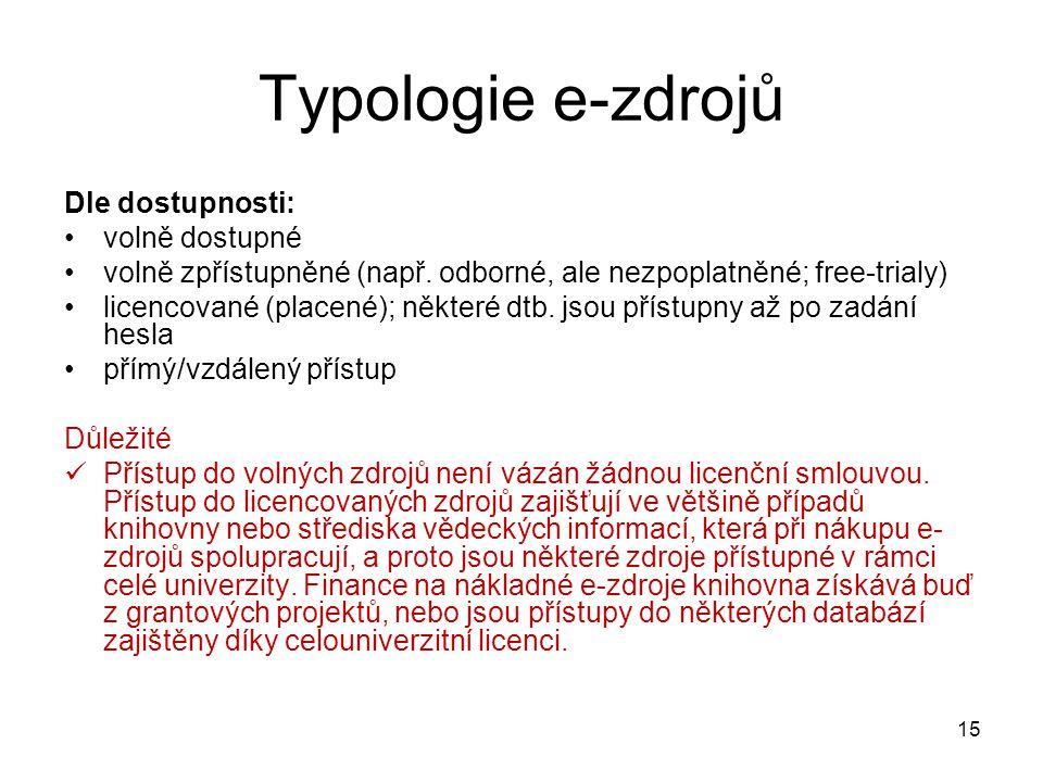 Typologie e-zdrojů Dle dostupnosti: volně dostupné volně zpřístupněné (např. odborné, ale nezpoplatněné; free-trialy) licencované (placené); některé d